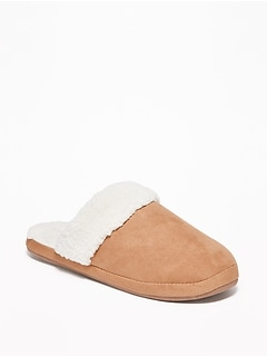 Faux-Suede Sherpa-Lined Slide Slippers for Women