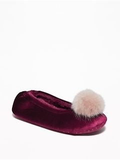 Velvet Faux-Fur Pom-Pom Slippers for Women