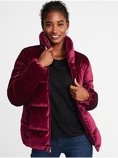 Frost-Free Velvet Puffer Jacket for Women