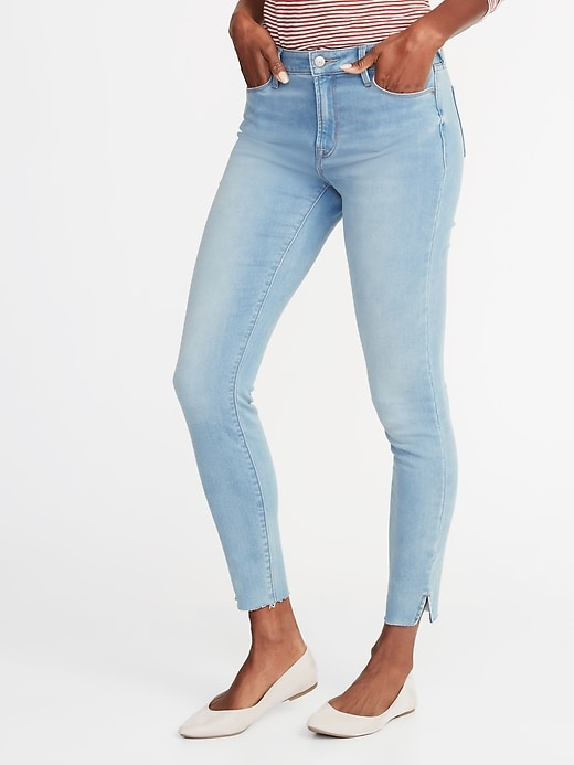 Mid-Rise Built-In Warm Raw-Edge Rockstar Super Skinny Jeans for Women