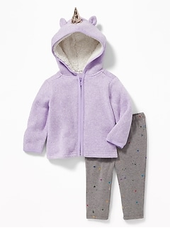 Unicorn-Critter Zip Hoodie and Printed Leggings for Baby