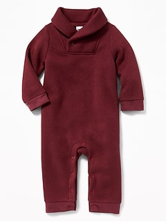 Shawl-Collar Sweater-Fleece One-Piece for Baby