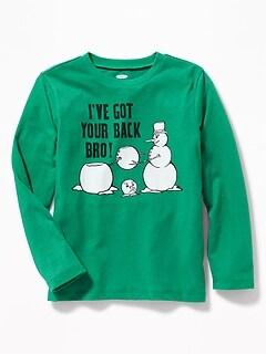 Christmas Graphic Crew-Neck Tee for Boys
