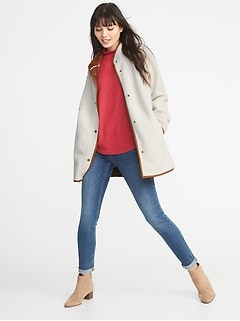 Long Sherpa Faux-Suede Lined Coat for Women