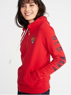Relaxed Logo-Graphic Zip Hoodie for Women