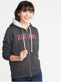 Relaxed Sherpa-Lined Zip Hoodie for Women