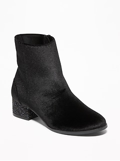 Velvet Glitter Block-Heel Booties for Girls