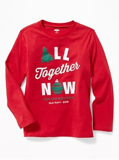 Christmas Graphic Crew-Neck Tee for Boys