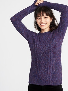 Cable-Knit Crew-Neck Sweater for Women