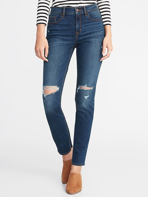 Mid-Rise Distressed Straight Jeans for Women