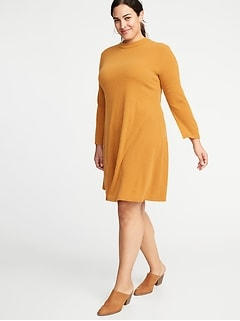 Mock-Neck Rib-Knit Plus-Size Sweater Swing Dress