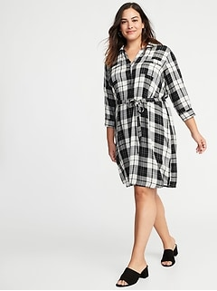 Plaid 3/4-Sleeve Tie-Belt Plus-Size Shirt Dress