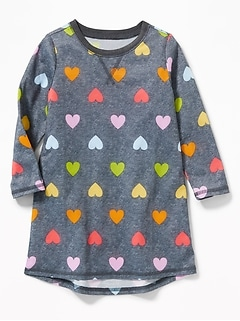 Heart-Print Sleep Dress for Toddler & Baby