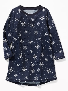 Snowflake-Print Sleep Dress for Toddler Girls