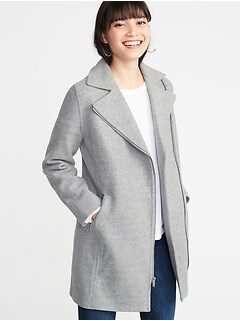 Soft-Brushed Long-Line Moto Coat for Women