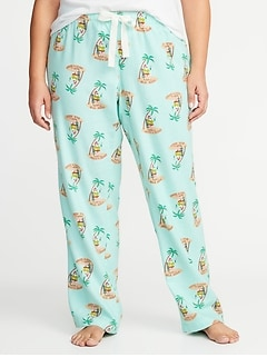 Patterned Plus-Size Flannel Sleep Pants