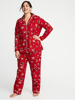Plus-Size Printed Flannel Sleep Set