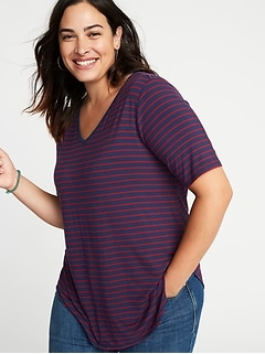 Luxe Striped Plus-Size V-Neck Tunic Tee