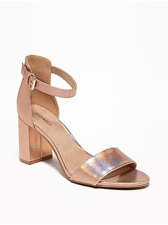 Metallic Faux-Leather Block-Heel Sandals for Women