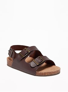 Faux-Leather Buckled Strap Sandals For Toddler Boys