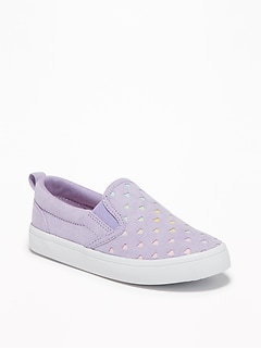 Perforated Faux-Suede Slip-Ons for Toddler Girls
