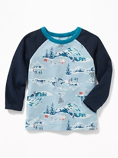 Printed Raglan Tee for Toddler Boys