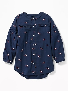 Printed Ruffle-Yoke Twill Shirt for Girls