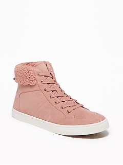 Faux-Suede Sherpa-Trim High-Tops for Women
