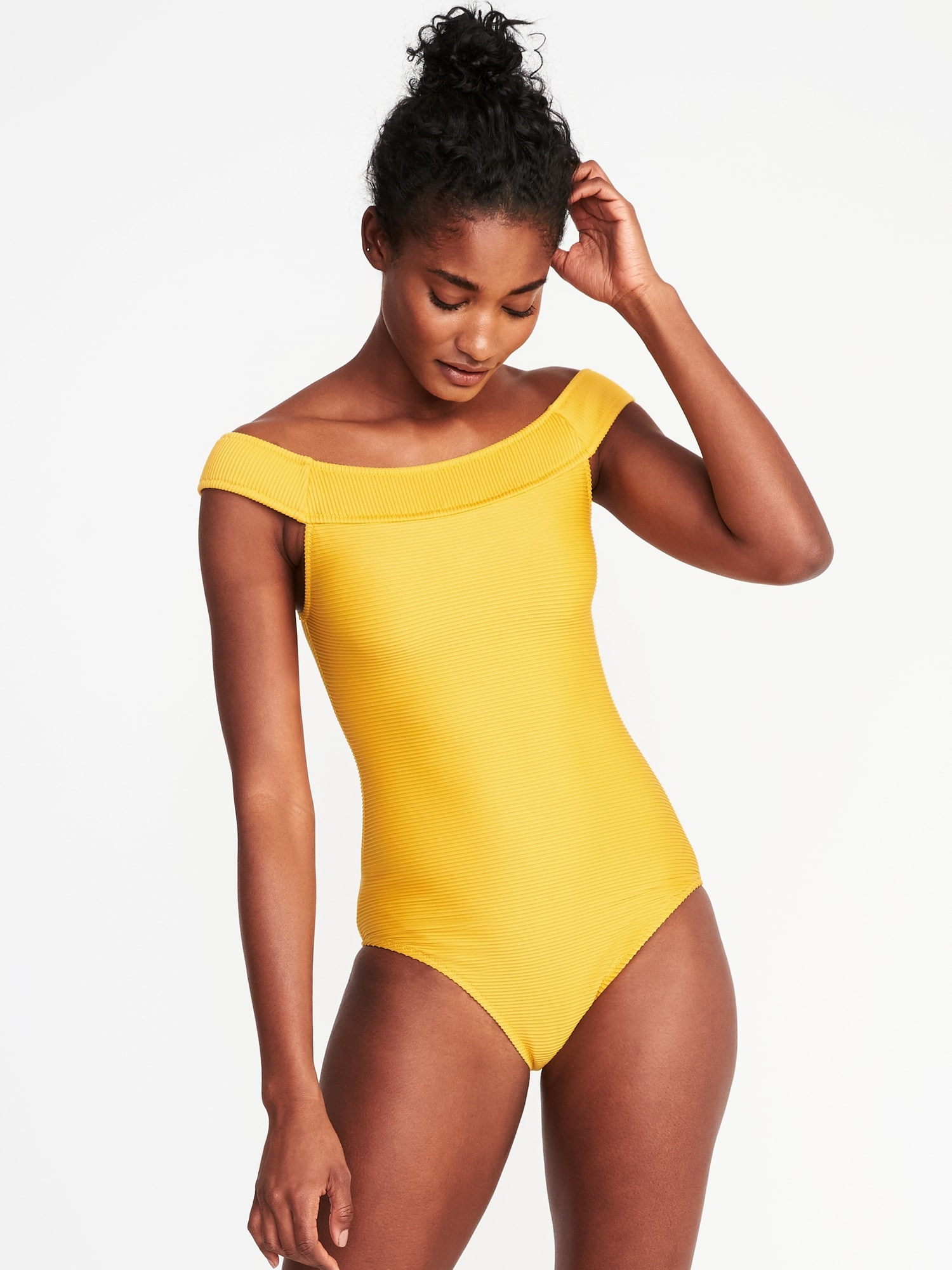 2336c421bdd938 Textured Off-the-Shoulder Swimsuit for Women | Old Navy