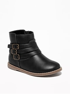 Faux-Leather Triple-Strap Booties For Toddler Girls