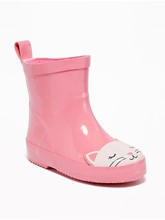 Kitty-Graphic Rubber Rain Boots for Toddler Girls