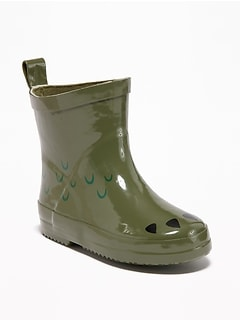 Rubber Dinosaur-Graphic Rain Boots For Toddler Boys