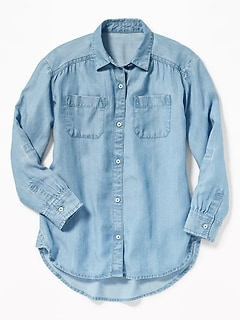 Tencel&#174 Chambray Tunic Shirt for Girls