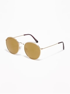 Retro Round Wire-Frame Sunglasses for Women