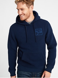 Embroidered-Graphic Sherpa Popover Hoodie for Men