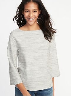 Textured Boat-Neck Top for Women 355a51f222