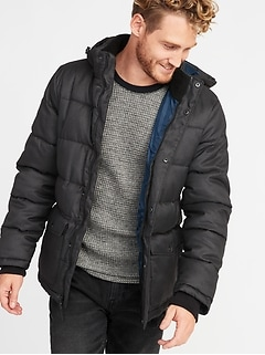 Quilted Detachable-Hood Heritage Jacket for Men