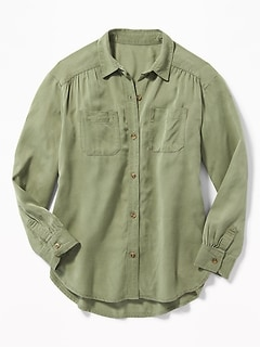 Lightweight Twill Utility Tunic Shirt for Girls