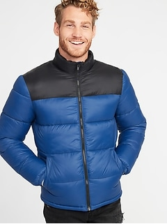 Quilted Frost-Free Color-Block Nylon Jacket for Men
