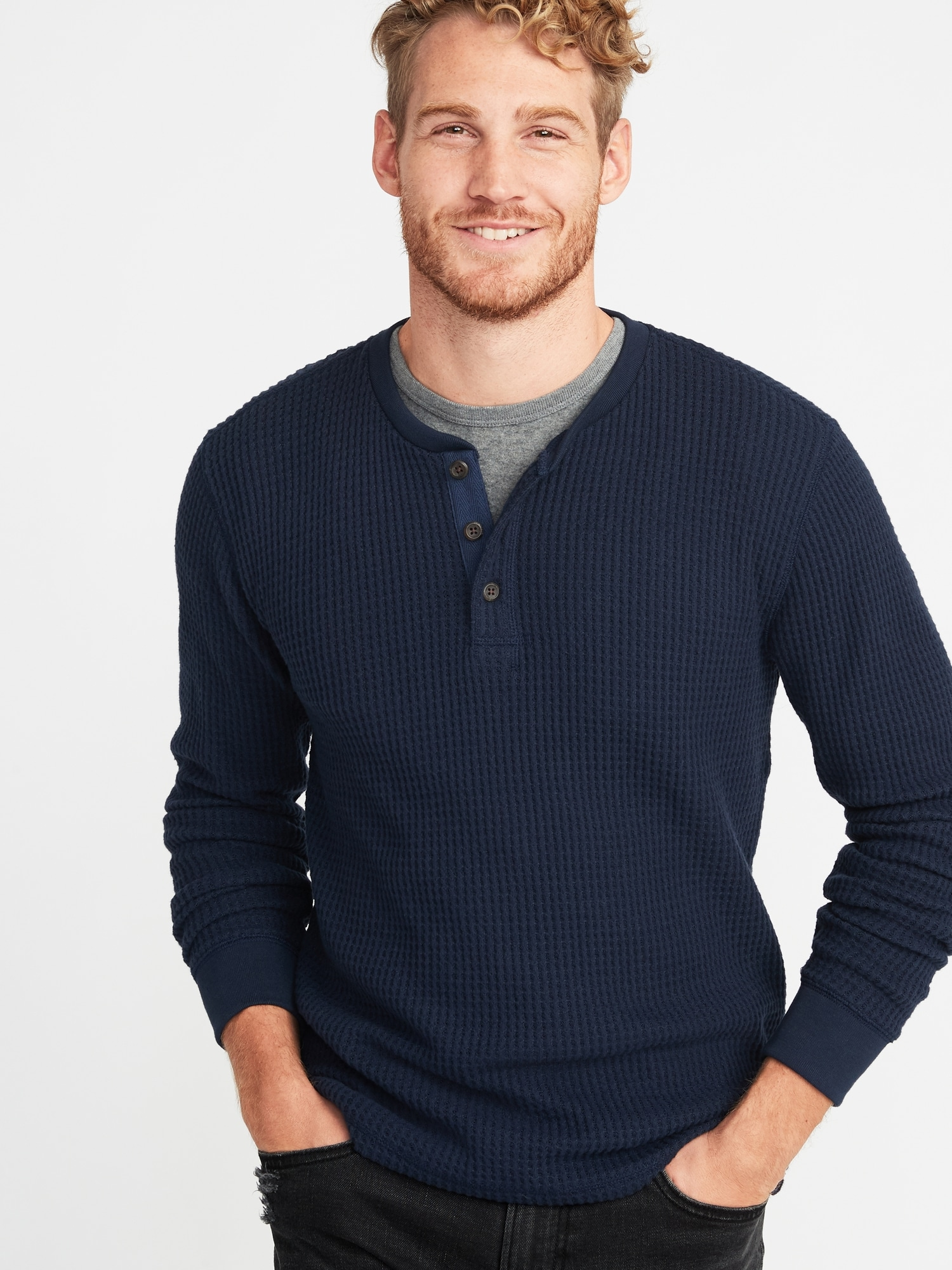 43120c5e Chunky-Textured Thermal-Knit Henley for Men | Old Navy