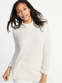 Mock-Neck Sweater-Knit Tunic for Women