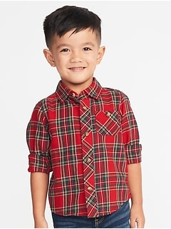 Plaid Pocket Shirt for Toddler Boys