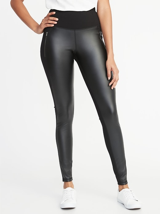 High Rise Faux Leather/Ponte Zip Pocket Street Leggings For Women by Old Navy