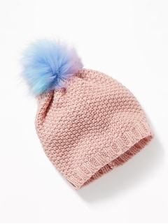 Textured Foil-Print Beanie for Girls