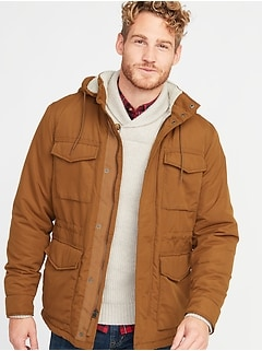 Water-Resistant Sherpa-Lined Hooded Field Jacket for Men