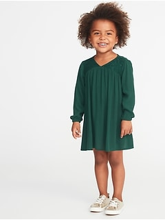 V-Neck Swing Dress for Toddler Girls