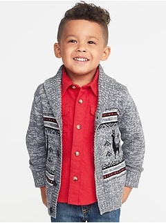 Fair Isle Shawl-Collar Cardigan for Toddler Boys