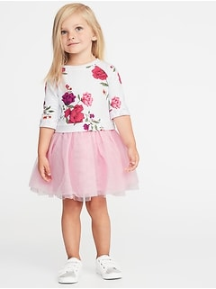 2-in-1 Fit & Flare Tutu Dress for Toddler Girls