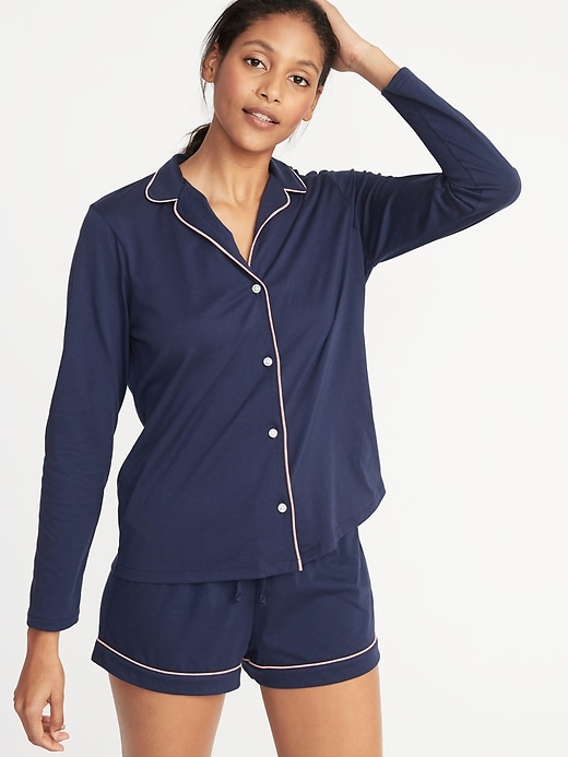 Relaxed Button-Front Sleep Shirt for Women