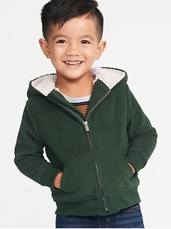 Sherpa-Lined Micro Performance Fleece Zip Hoodie for Toddler Boys